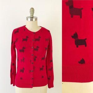 Modcloth Dog Print Soft Red Knit Cardigan P689